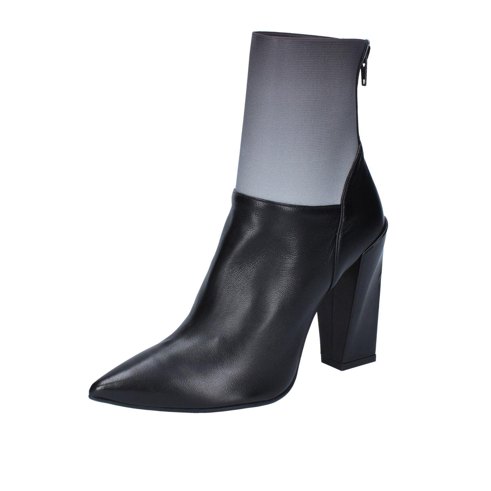 Scarpe donna GIANNI MARRA 37,5 EU tronchetti nero grigio pelle BY766-37,5