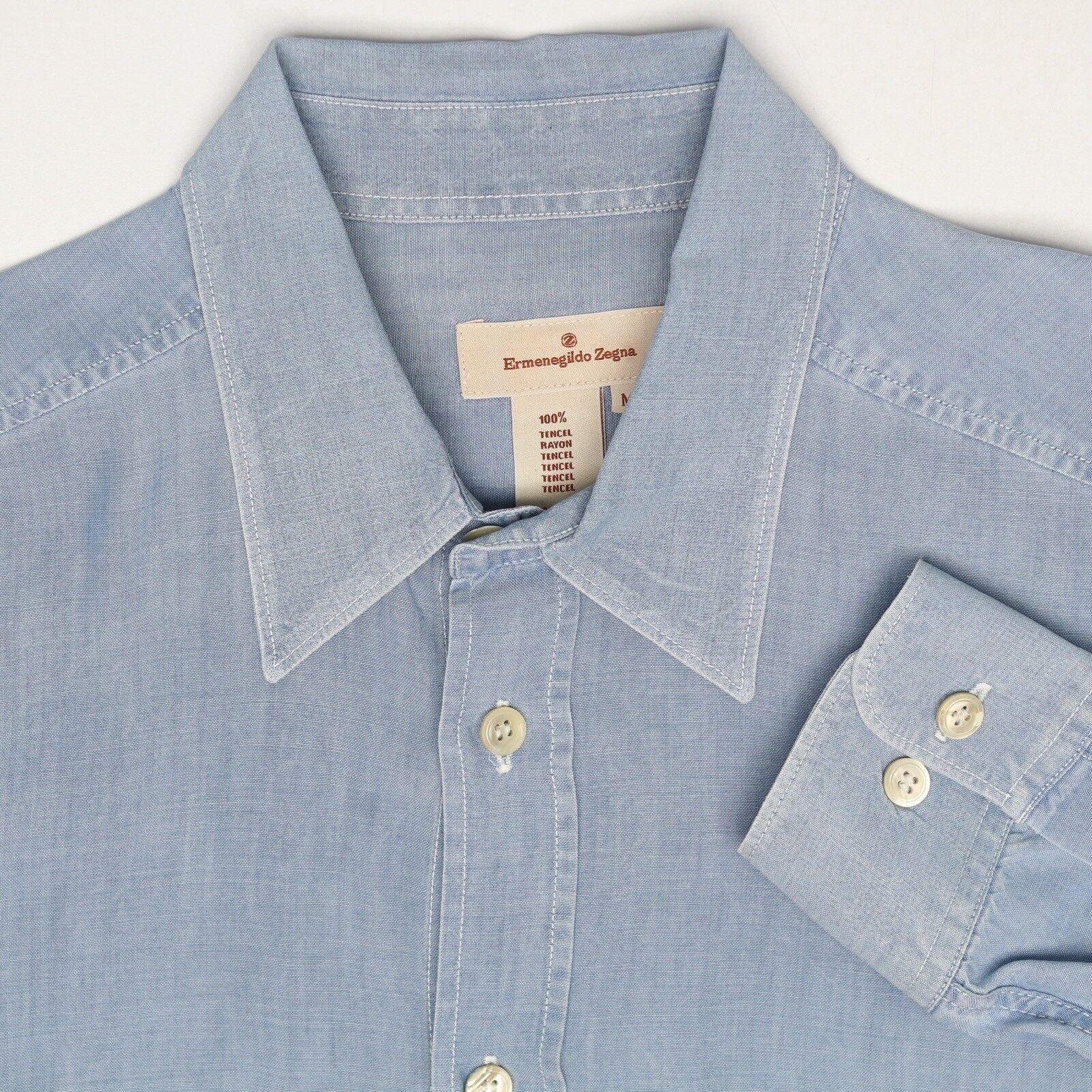 Ermenegildo Zegna Herren Shirt M Blau Viskose Geknöpft Tasche Langärmelig Kragen