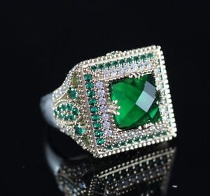 925-Sterling-Silver-Handmade-Antique-Turkish-Emerald-Ladies-Ring-Size-7-10