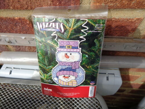 wizzers snowman with scarf plastic canvas counted cross stich kit uk seller