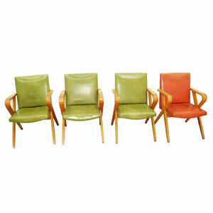 Image Is Loading Set Of 4 Mid Century Thonet Arm Chairs