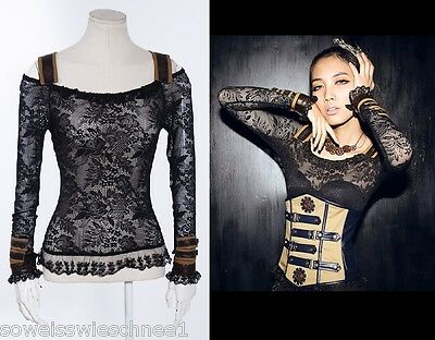 RQ-BL Steampunk Bluse Spitze Faux Gothic Lace Shirt Top Military Braun SP019