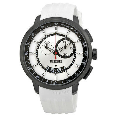 Versus by Versace Manhattan Chronograph Black and White Dial White Rubber Mens