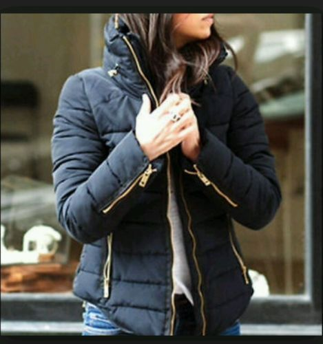 Blue Fur Small Zara Gold Uk10 Coat Jacket Navy Anorak 8 Uk S Zip Collar Puffer 1qxwdxfT