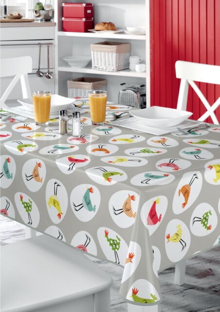 Funky Chickens Multi VINYL WIPE CLEAN PVC TABLECLOTH