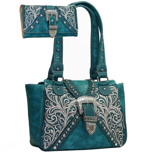 Western Buckle Accented Concealed Handgun Purse Handbag Wallet Set