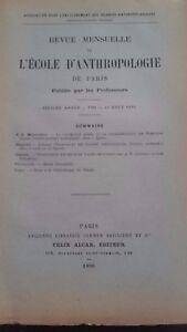 Rivista SCUOLA Antropologia 6 Eme Anni 1896 F.Alcan N° VIII ABE