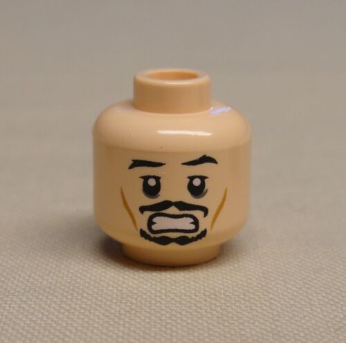 Scared Pattern NEW Lego Minifig Head FLESH Dual Sided Black Moustache Smiling