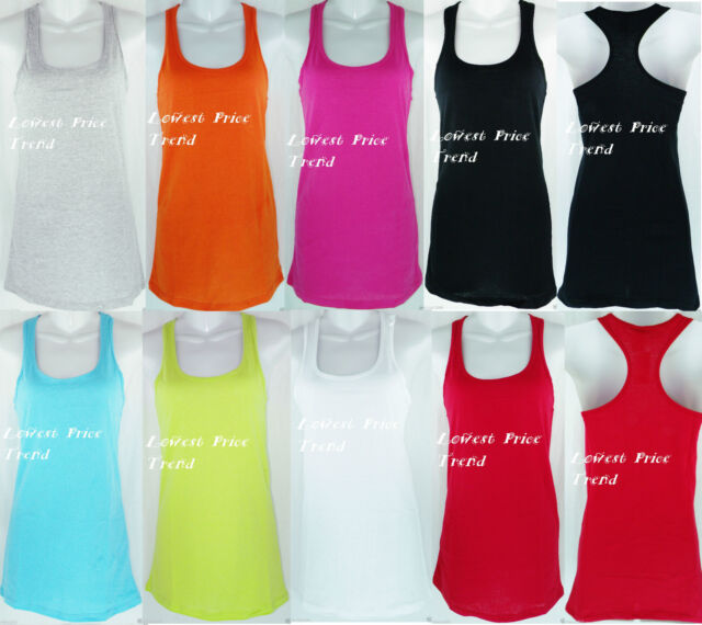 WHOLESALE Racerback Tank Top 100% Cotton Basic Solid Hot Tee Cami New TT402