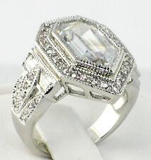 ANTIQUE PENTAGON 8.26 CT. lab White Topaz & CZ Wedding Engagement Ring - SIZE 9