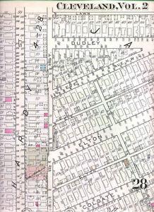 1937 CLEVELAND OHIO ANTIQUE HANDCOLORED MAP w CAR SALES