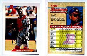 Sandy-Alomar-Jr-Signed-1992-Bowman-140-Card-Cleveland-Indians-Auto-Autograph