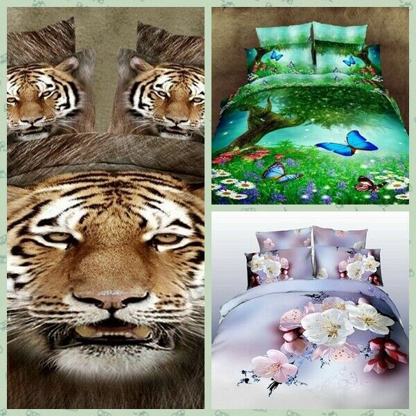 [JB] 100% Cotton Printed Pure Duvet Cover Bedding Pillow Butterfly Flower Tiger