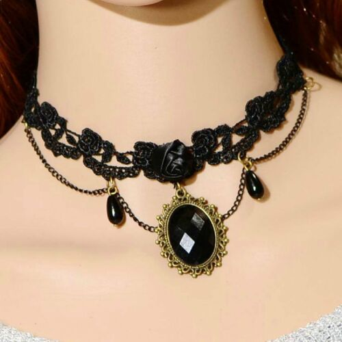 Choker Schwarz Gothic Collier Spitze Kragen Barock Victorian Halsband Rose NEU
