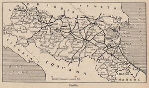 Emilia Romagna Cartina Dettagliata.G9148 Emilia Romagna 1953 Mappa Epoca Vintage Map Ebay