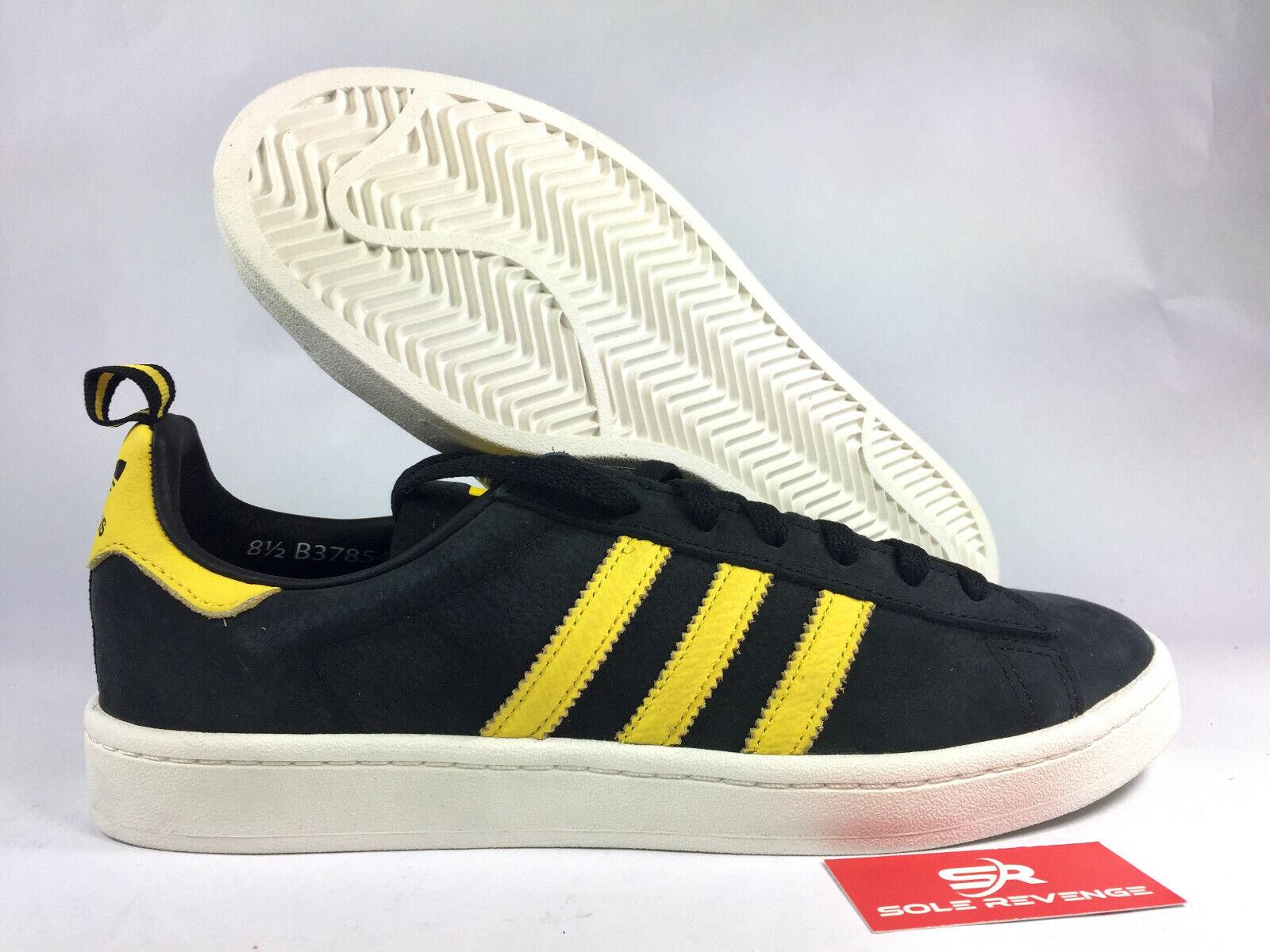 New  adidas Originals CAMPUS SHOES B37854 Core Black Eqt Yellow Chalk White x1