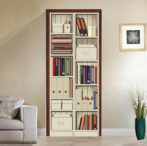 3D Bookshelf Cabinet Self-adhesive Door Sticker Waterproof Mural Decal Decor