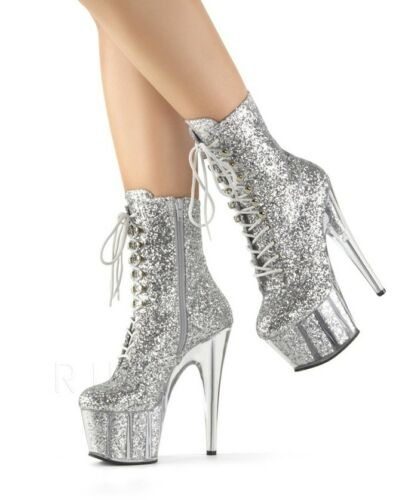 """7"""" Clear Silver Glitter Stripper Pole Dancer Boots Pleaser Adore Womans Shoes"""