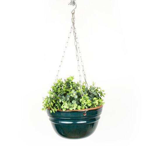 26cm Keramik mit frostfester Salzglasur Blumenampel hängender Topf Grün D 19cm