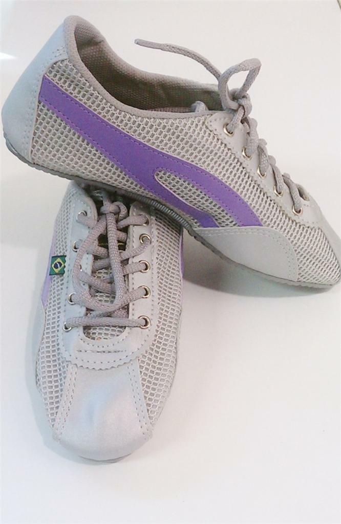 Taygra Brasil Gray & Purple Slim Sneakers Flexible & Light Shoes Size 39