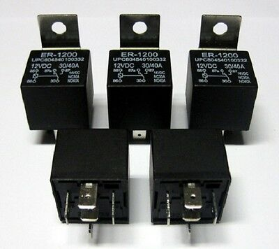 5 PREMIUM 12V 30//40 AMP RELAYS 12 VOLT CAR ALARM RELAY 5-PRONG SPDT NEW
