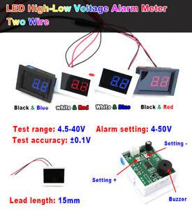 DC4-5-40V-Digital-LED-Voltmeter-High-Low-Voltage-Alarm-Tester-5v-12v-24v-36v-Car