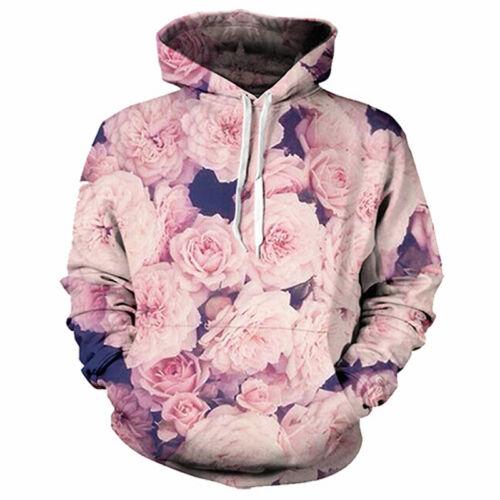 Fashion Women//Men Floral Rose Flowers 3D Print Casual Hoodie Sweatshirt Pullover