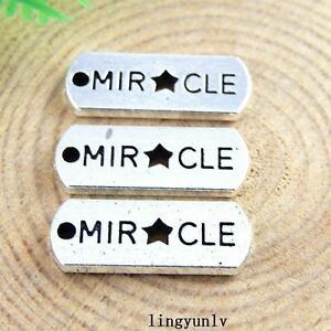 Lot-of-20-Vintage-Silver-Metal-Tag-Engraved-Word-034-MIRACLE-034-Charm-Pendant-Jewelry