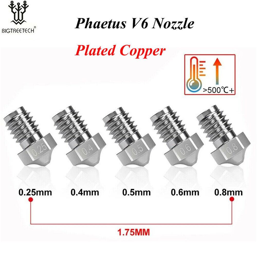 Phaetus V6 Nozzle 1.75MM 0.25/0.4/0.5/0.6/0.8mm For E3D V6 Hotend Prusa i3 MK3