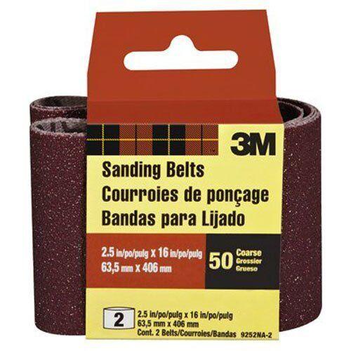 2 Coarse Grit 2.5-Inch by 16-Inch 3M 9252NA-2 Heavy Duty Power Sanding Belts