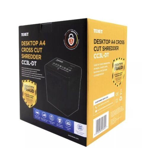Texet Electric Desktop A4 Shredder Cross Cut Shredding Cards Documents CC3L-DT