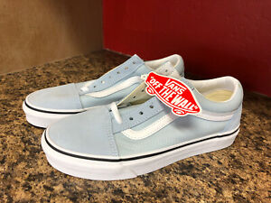 Vans-Old-Skool-Baby-Blue-True-White-Skate-Shoes-Canvas-Suede-M-5-W-6-5