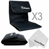 3x Pack Camera Photo 3 Pocket Filter Lens Case Wallet Pouch For Circular Filters on sale