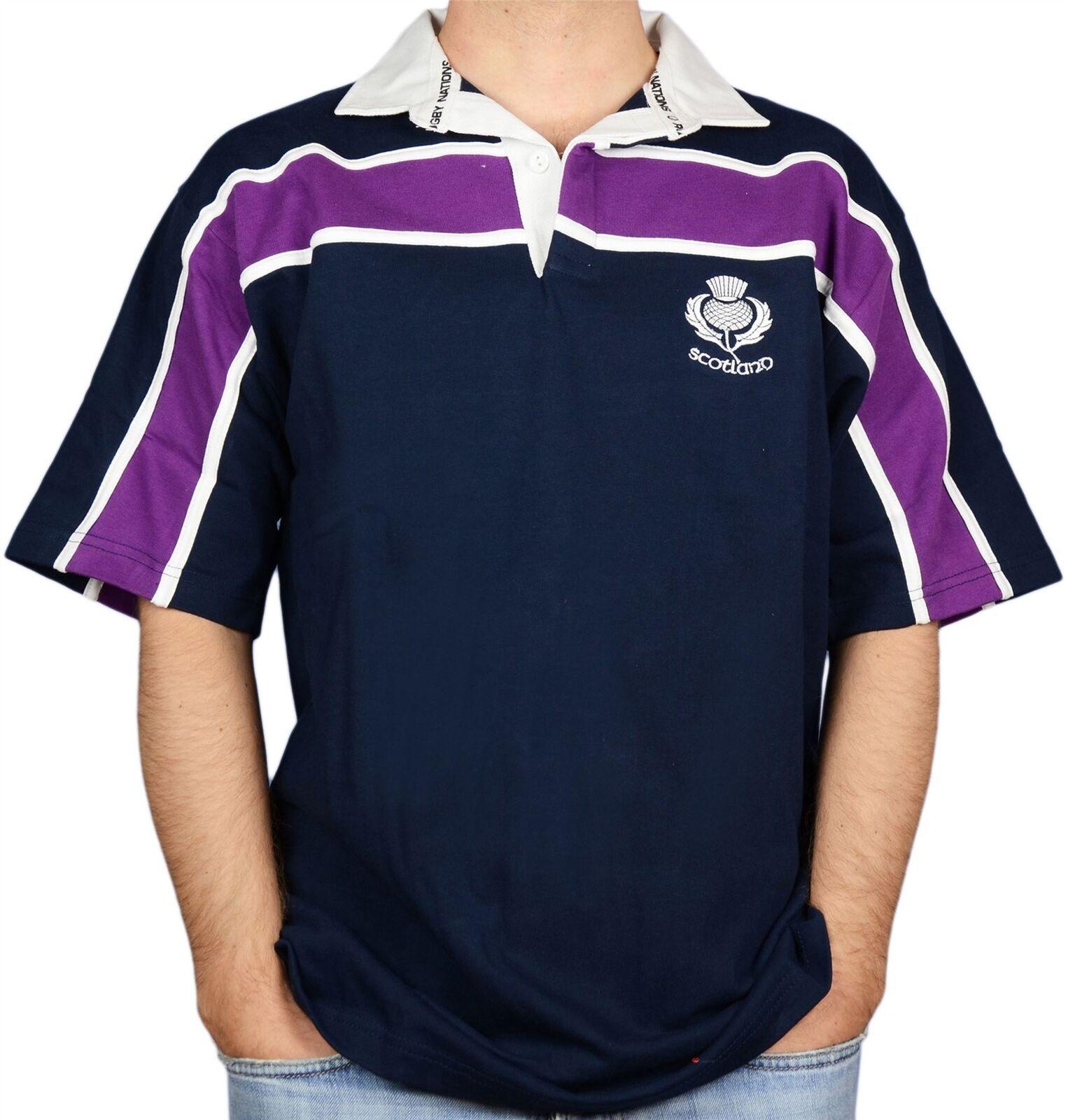 Scottish Mens Rugby Shirt Purple Stripe Thistle Logo Short Sleeve Navy X-Small
