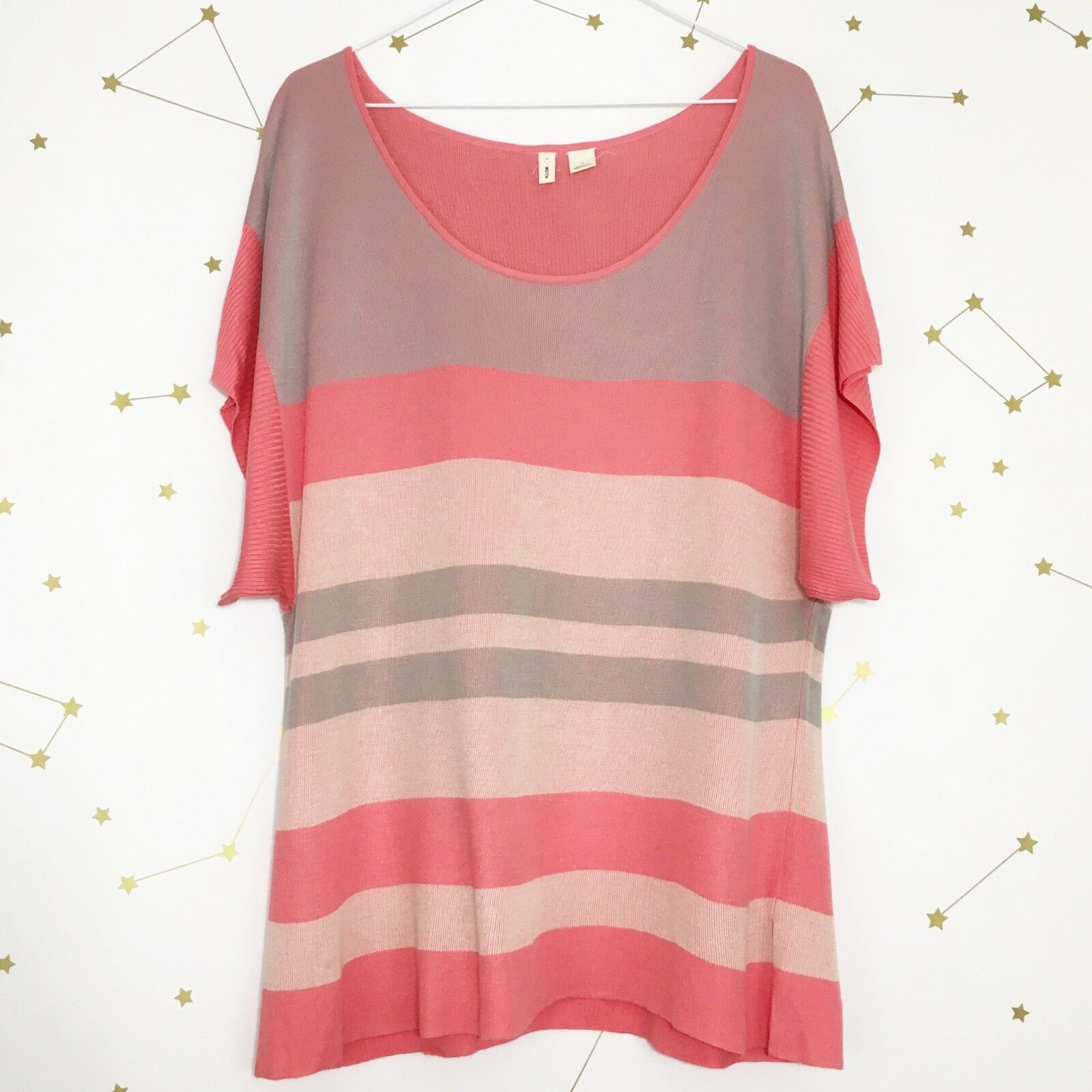 Anthropologie Moth Sweater Size Large Pink Striped Short Sleeve Boxy Setting Sun