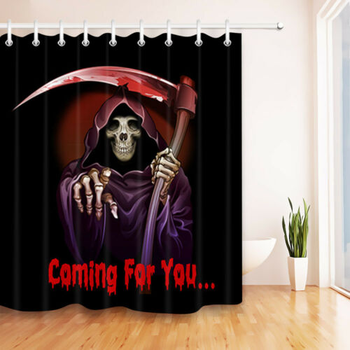 Grim Reaper Coming For You Fabric Shower Curtain Halloween Bathroom Fabric Hooks