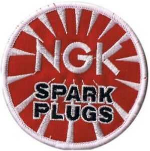 NGK-Spark-Plugs-iron-on-sew-on-cloth-patch-78mm-round-os