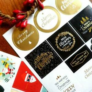 2sheets-Stickers-Merry-Christmas-Snowflake-Santa-Rudolph-Gift-Seal-Present-Label