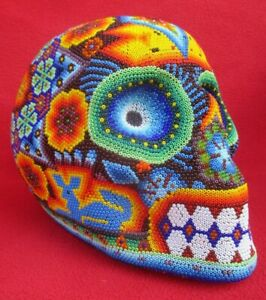 Huichol-Tribe-Mexican-Folk-Art-Life-Sized-Beaded-Skull-With-Sacred-Designs