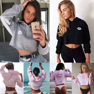 Image is loading Womens-Ladies-Sweatshirt-Cute-Lips-Hooded-Fleece-Oversized- 8084ec843