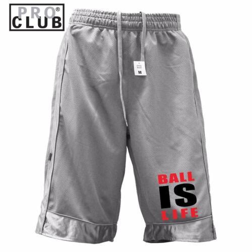 MEN PROCLUB PRINTED BALL IS LIFE FUNNY HEAVY WEIGHT BASKETBALL MESH SHORTS PANTS