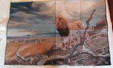 Lion African Safari Zebra Buffalo Prairie unfinished Tapestry Wall Hanging Panel