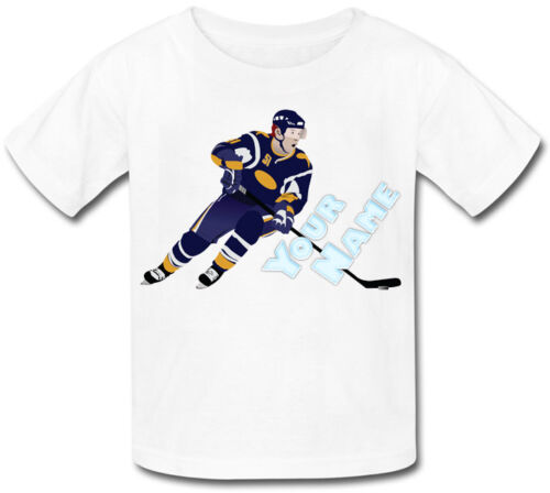 GREAT GIFT FOR ANY CHILD /& NAMED ICE HOCKEY PLAYER PERSONALISED KIDS T-SHIRT
