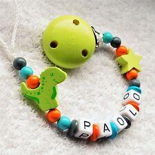 Schnullerkette mit Namen Junge Dino Dinosaurier Holzbuchstaben Babygeschenk