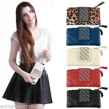 Women's Studded Bag PU Leather Purse Foldover Wristlet Wallet Card Holder ln
