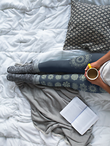 SALE  Mandala Print Yoga Leggings,color Navy, Four-way stretch, made in USA