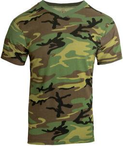 6727c356007803 Mens Woodland Camo Tactical High V NECK T-Shirt Military Army Green ...