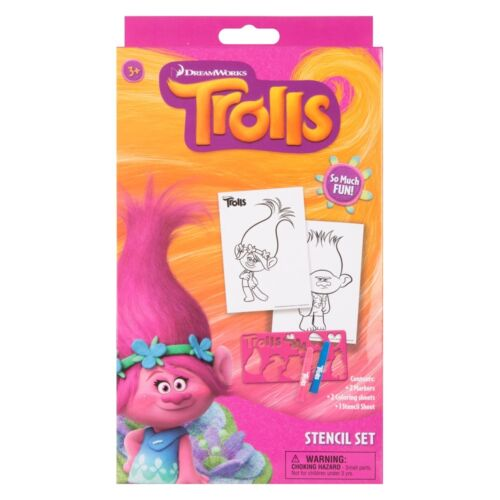 2 Coloring sheets 1 Stencil Sheet Fun Time 3+Y Trolls Stencil Set of 2 Markers