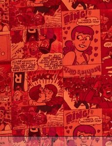 Archie-Comics-Retro-Comic-Strip-Red-Camelot-100-cotton-Fabric-by-the-yard