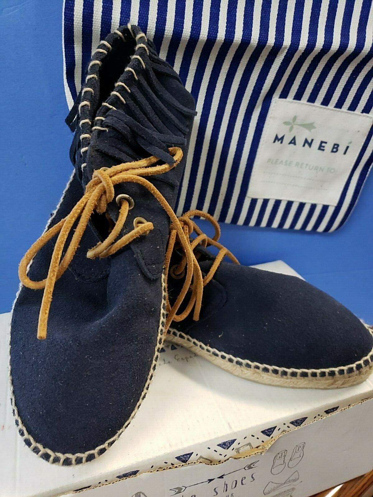Manebi Lace up Fringe Patriot bluee  CHEROKEE No.37   size  7 K15A01